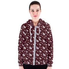 Deer Dots Red Women s Zipper Hoodie