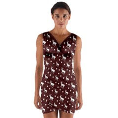 Deer Dots Red Wrap Front Bodycon Dress