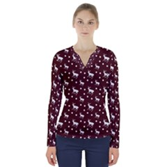 Deer Dots Red V Neck Long Sleeve Top