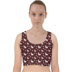 Deer Dots Red Velvet Racer Back Crop Top