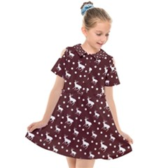Deer Dots Red Kids  Short Sleeve Shirt Dress