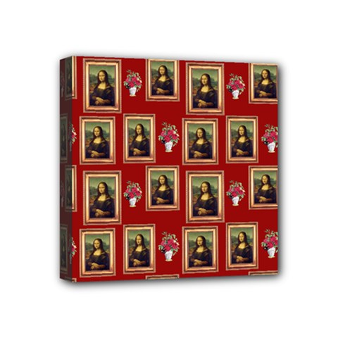 Mona Lisa Frame Pattern Red Mini Canvas 4  X 4  (stretched)