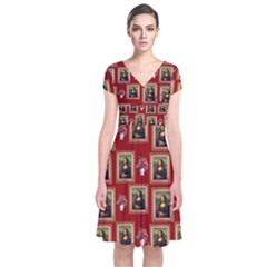 Mona Lisa Frame Pattern Red Short Sleeve Front Wrap Dress