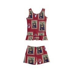 Mona Lisa Frame Pattern Red Kid s Boyleg Swimsuit