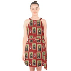 Mona Lisa Frame Pattern Red Halter Collar Waist Tie Chiffon Dress