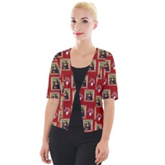 Mona Lisa Frame Pattern Red Cropped Button Cardigan