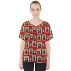 Mona Lisa Frame Pattern Red V Neck Dolman Drape Top