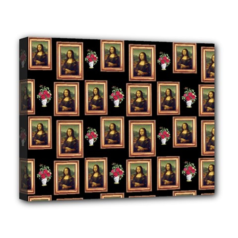 Mona Lisa Frame Pattern Deluxe Canvas 20  X 16  (stretched)