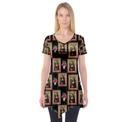 Mona Lisa Frame Pattern Short Sleeve Tunic