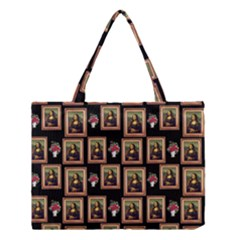 Mona Lisa Frame Pattern Medium Tote Bag