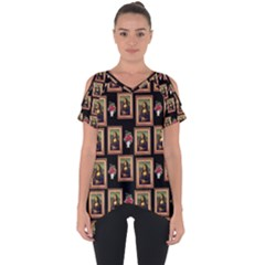 Mona Lisa Frame Pattern Cut Out Side Drop Tee