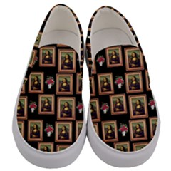 Mona Lisa Frame Pattern Men s Canvas Slip Ons