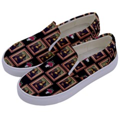 Mona Lisa Frame Pattern Kids  Canvas Slip Ons by snowwhitegirl