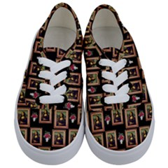 Mona Lisa Frame Pattern Kids  Classic Low Top Sneakers