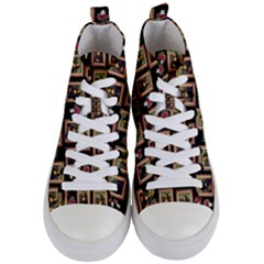 Mona Lisa Frame Pattern Women s Mid Top Canvas Sneakers