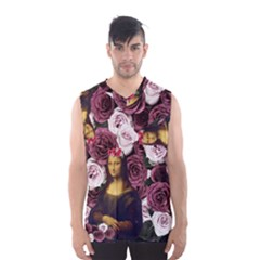 Mona Lisa Floral Black Men s Basketball Tank Top
