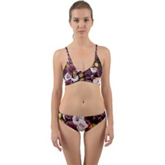 Mona Lisa Floral Black Wrap Around Bikini Set