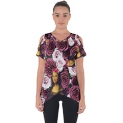 Mona Lisa Floral Black Cut Out Side Drop Tee