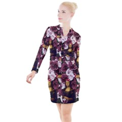 Mona Lisa Floral Black Button Long Sleeve Dress