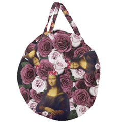 Mona Lisa Floral Black Giant Round Zipper Tote