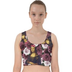 Mona Lisa Floral Black Velvet Racer Back Crop Top
