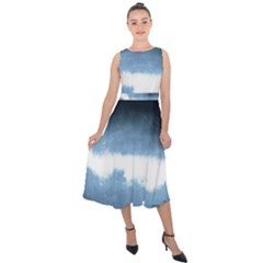 Ombre Midi Tie Back Chiffon Dress by Valentinaart