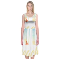 Hola Beaches 3391 Trimmed Midi Sleeveless Dress