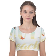 Hola Beaches 3391 Trimmed Velvet Short Sleeve Crop Top