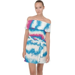 Ombre Off Shoulder Chiffon Dress by Valentinaart