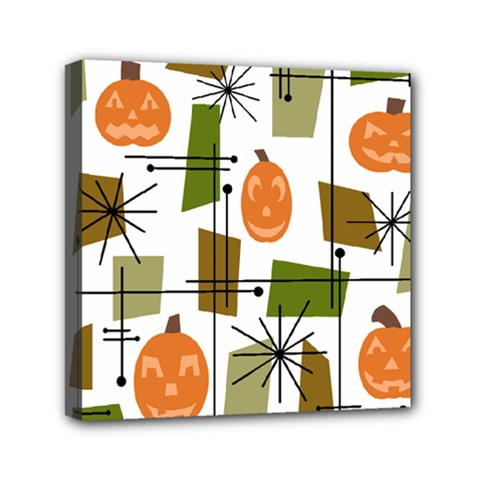 Halloween Mid Century Modern Mini Canvas 6  X 6  (stretched)