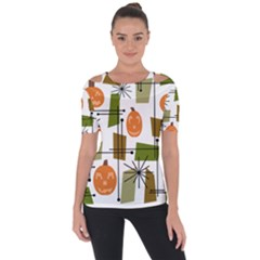 Halloween Mid Century Modern Shoulder Cut Out Short Sleeve Top