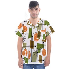 Halloween Mid Century Modern Men s V Neck Scrub Top