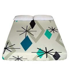 Atomic Era Diamonds (turquoise) Fitted Sheet (california King Size) by KayCordingly