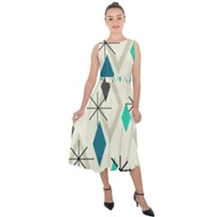 Atomic Era Diamonds (turquoise) Midi Tie Back Chiffon Dress