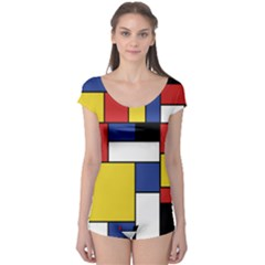 Mondrian Geometric Art Boyleg Leotard