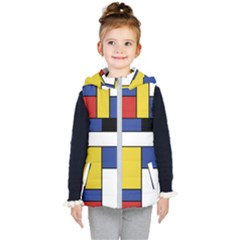 Mondrian Geometric Art Kid s Hooded Puffer Vest