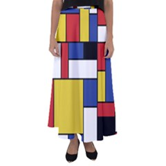Mondrian Geometric Art Flared Maxi Skirt