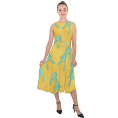 Bold And Brash Pattern Midi Tie Back Chiffon Dress by Valentinaart