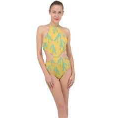 Bold And Brash Pattern Halter Side Cut Swimsuit