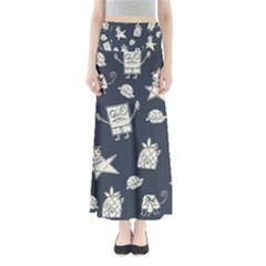 Doodle Bob Pattern Full Length Maxi Skirt