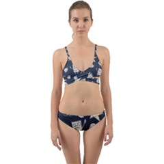 Doodle Bob Pattern Wrap Around Bikini Set