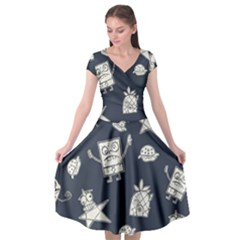 Doodle Bob Pattern Cap Sleeve Wrap Front Dress