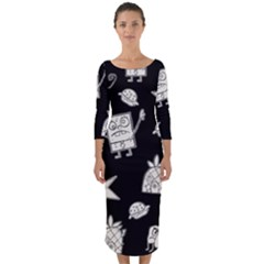 Doodle Bob Pattern Quarter Sleeve Midi Bodycon Dress