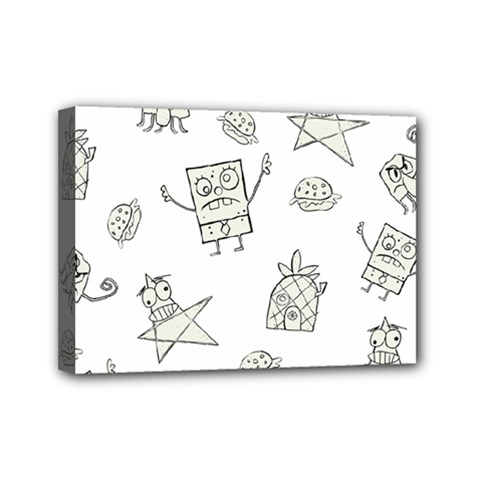 Doodle Bob Pattern Mini Canvas 7  X 5  (stretched) by Valentinaart