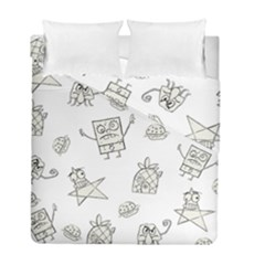 Doodle Bob Pattern Duvet Cover Double Side (full/ Double Size) by Valentinaart