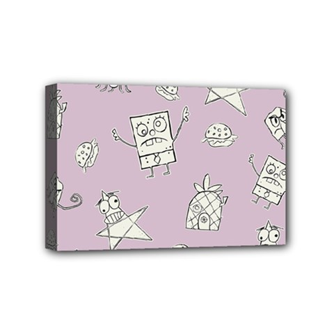 Doodle Bob Pattern Mini Canvas 6  X 4  (stretched)