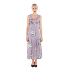 Doodle Bob Pattern Sleeveless Maxi Dress