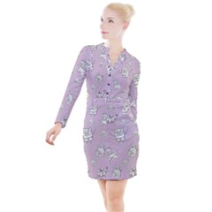 Doodle Bob Pattern Button Long Sleeve Dress