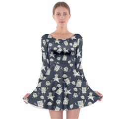 Doodle Bob Pattern Long Sleeve Skater Dress