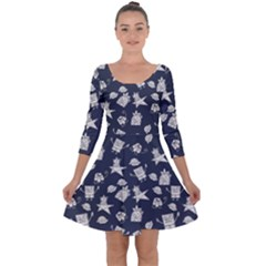 Doodle Bob Pattern Quarter Sleeve Skater Dress